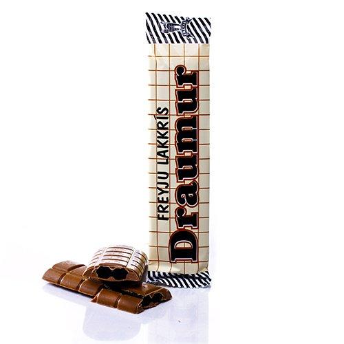 Draumur består avtvå saltlakritsstänger inslutna av mjölkchoklad. Islänningarnas absoluta favorit. Din också? Prova!