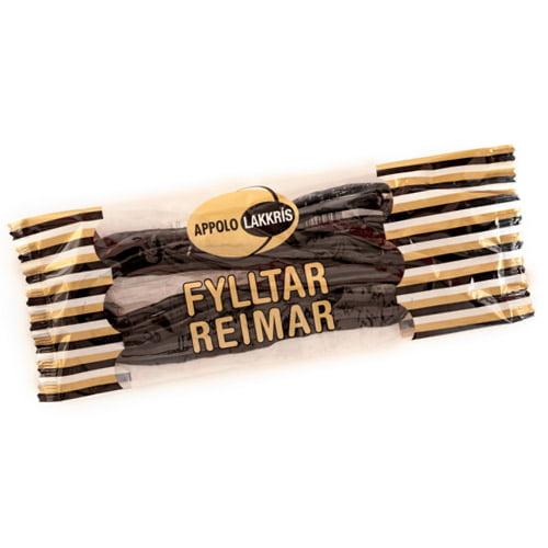Appolo Lakkris Fylltar Reimar är lyxiga tjocka godissnören av isländsk saltlakrits med kokosfyllning.