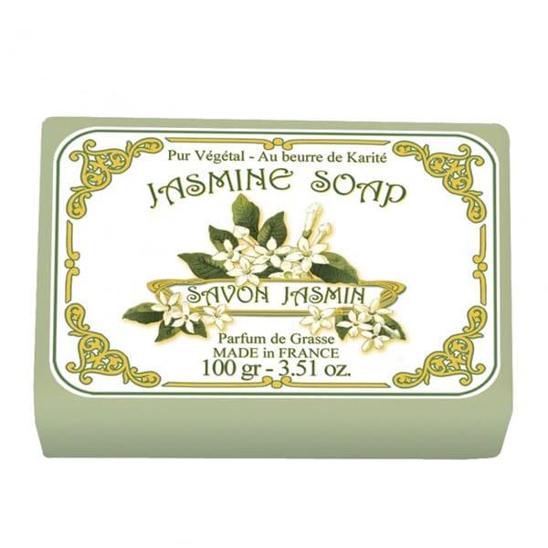 Fransk tvål med doft av jasminblommor. 100% vegetabiliska oljor samt sheasmör som verkar mjukgörande. En underbar doft som varar ända tills tvålen tar slut.