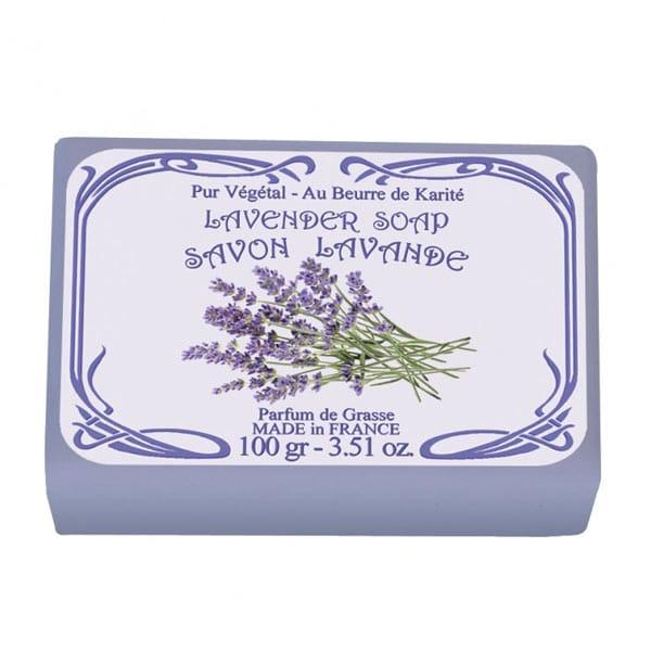 Fransk tvål med doft av lavendel. 100% vegetabiliska oljor samt sheasmör som verkar mjukgörande.