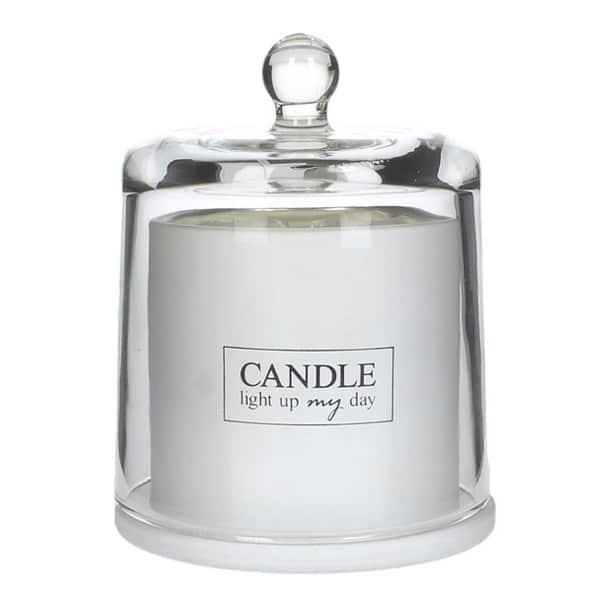 Dofljus i lyxig glasburk med lock, näckrosor