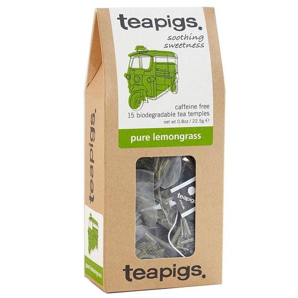 Teapigs, Pure Lemongrass är en söt lime och citrus dryck. Naturligt koffeinfri och hälsosam, citrongräs hjälper matsmältningen och stillar oroliga magar.