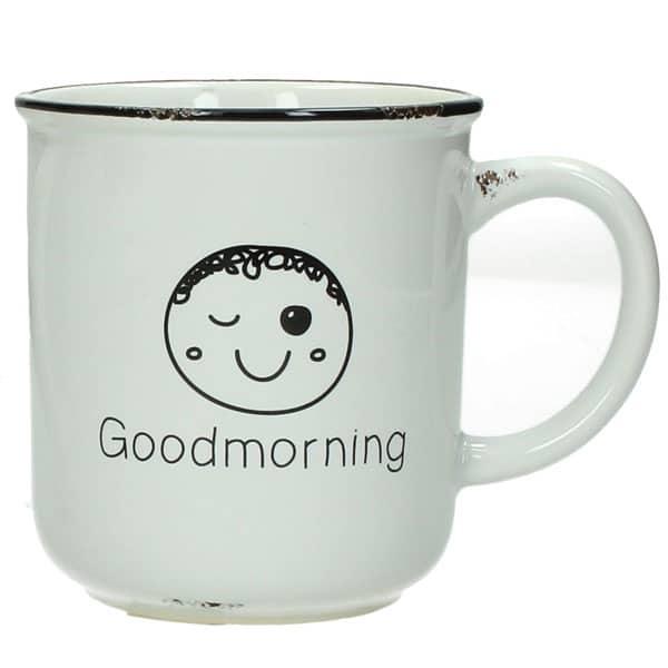 """Keramikmugg med motiv av glad kille och texten """"Good morning""""."""