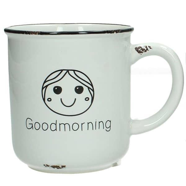 """Keramikmugg med motiv av glad tjej och texten """"Good morning""""."""