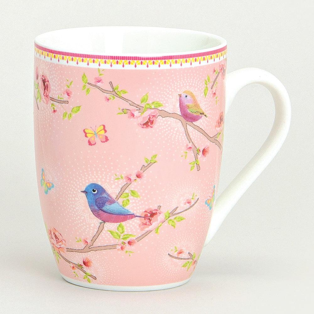 Mugg med fågelmotiv, rosa