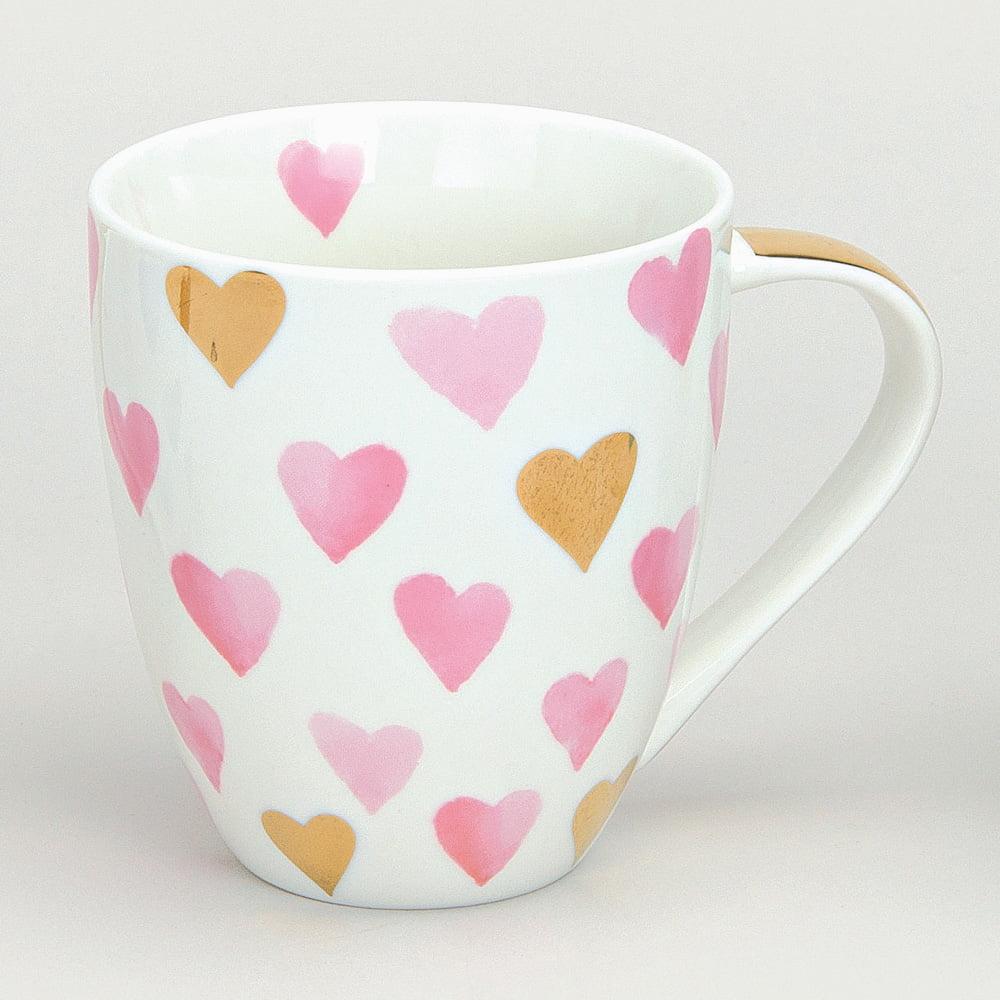 Jumbomugg med rosa hjärtan