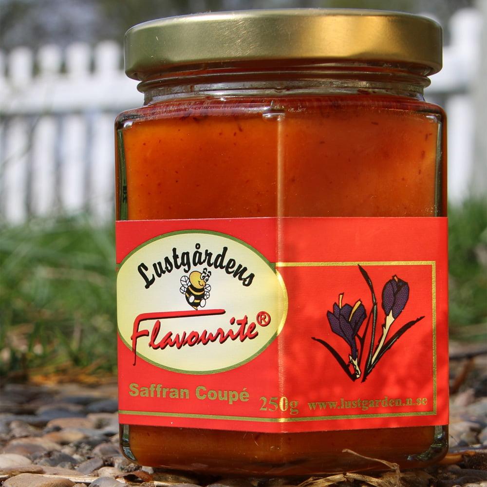 Honung smaksatt med saffran. God i wook, på gratinerad chèvre, i fisk- och skaldjurssås, i saffranspannkaka och till bakning.