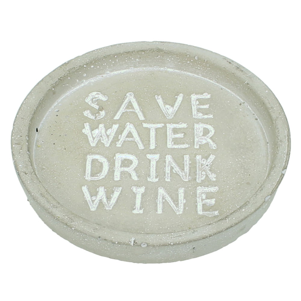 "Glas-/flaskunderlägg i betong ""Save water drink wine"""