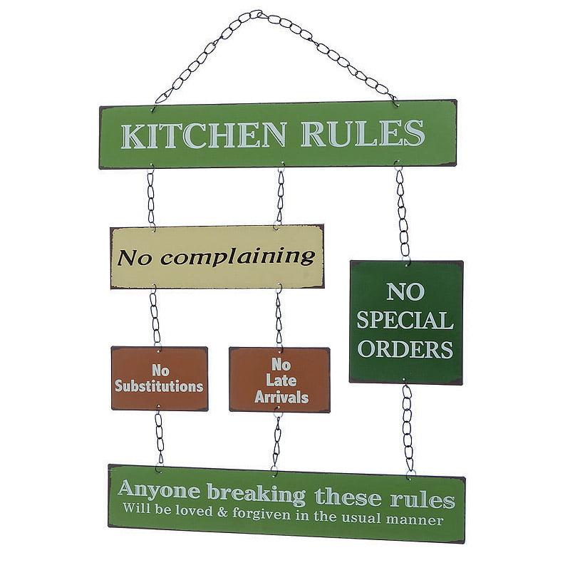 "Flerdelad plåttavla ""Kitchen rules"""