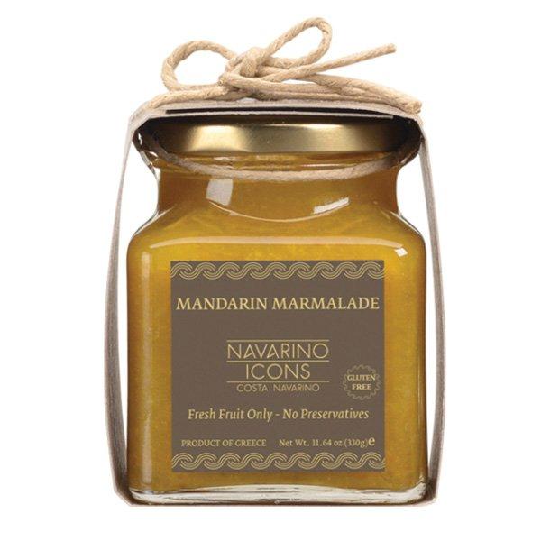 Mandarinmarmelad från Grekland med 80% färska mandariner och inga tillsatser. Avnjuts på en bit bröd, i yoghurt eller på glass.