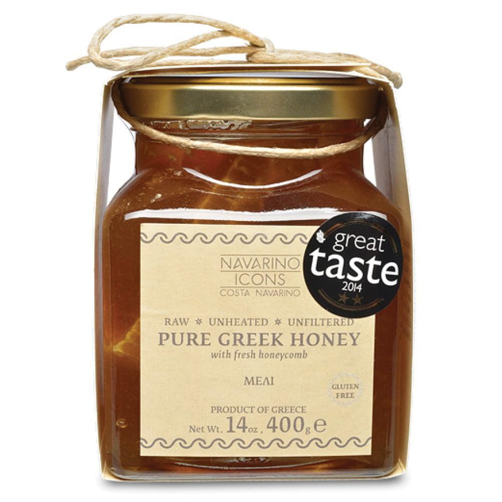 Ren naturligt tjock och gyllene grekisk honung utan konstgjorda tillsatser eller aromer. Förpackad i glasburk med en bit färsk bikaka.