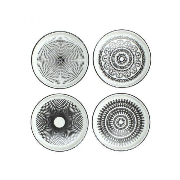 Glasunderlägg keramik Ø11,5 cm, 4 st/set