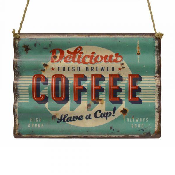 "Tavla i korrugerad plåt ""delicious coffee"""