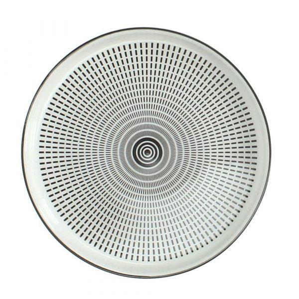 Coaster/fat svart-vitt porslin Ø 16,5 cm