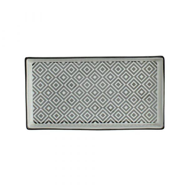 Fat i svart-vitt porslin 21,5x11,5 cm