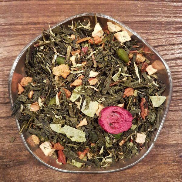 Grönt te med smak av pistage. Innehåller även äppelbitar, kokoschips, tranbär och pistagekärnor.