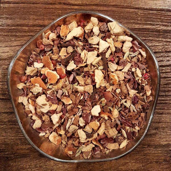 Krossade kakao kärnor, apelsinskal, kanelbitar, ingefärabitar, lakritsrot, kryddnejlika, fänkål, kardemummafrön, rosépeppar