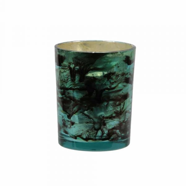 Ljuslykta i melerat glas, grön, Ø 8 cm H 10 cm