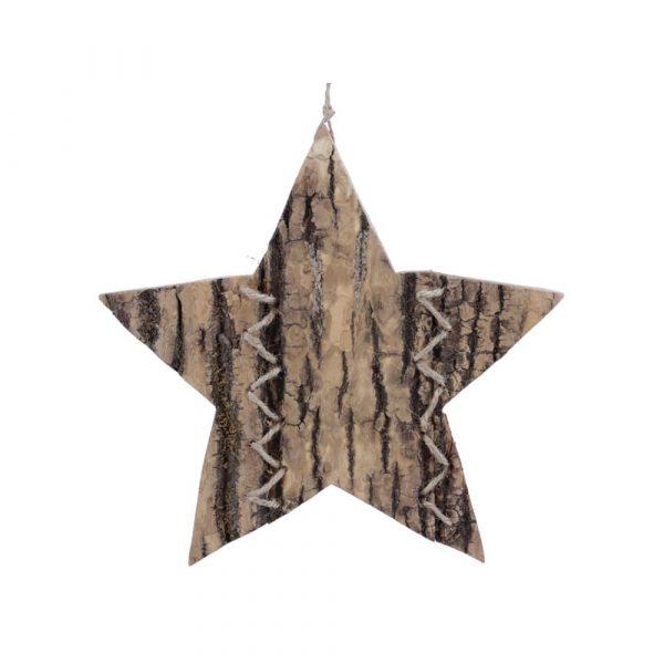 Hängdekoration i trä 19 cm, stjärna