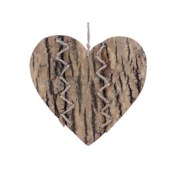 Hängdekoration i trä 19 cm, hjärta