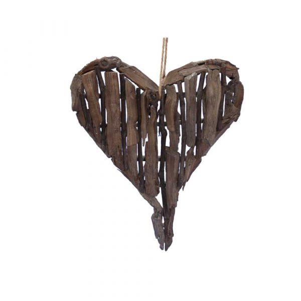 Hängdekoration drivved 30x45 cm, hjärta