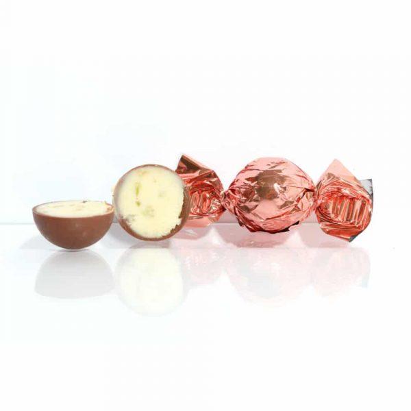Fylld mjölkchokladtryffel med smak av rom och lime. Kakaohalt minst 30%. Förpackningen innehåller 10 stycken.