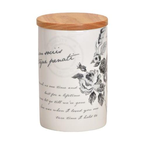 Porslinsburk med lock, rosor och text, 14 cm