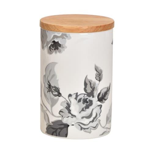 Porslinsburk med lock, rosor, 14 cm