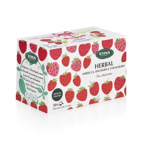 Örtte med smak av jordgubb, rabarber och hibiskus.
