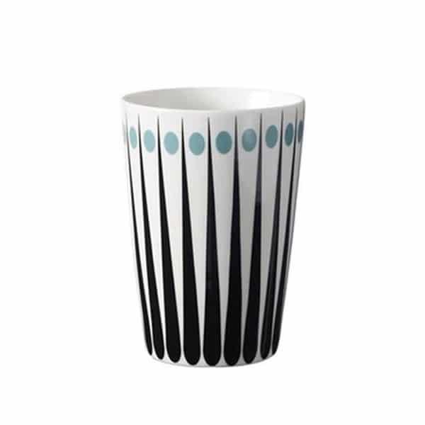 Lattemugg retromönster ljusblå 400 ml