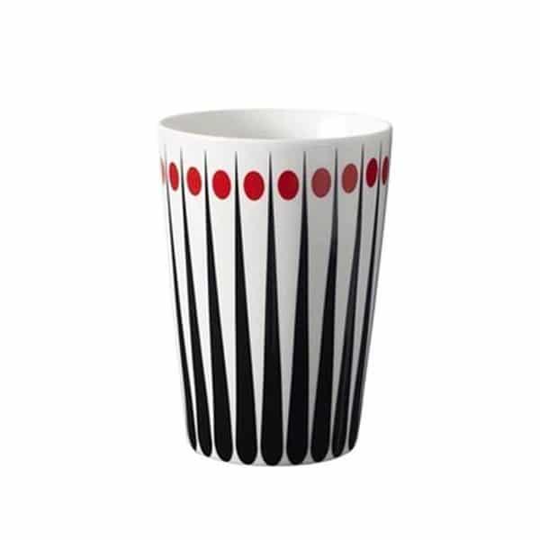 Lattemugg retromönster röd 400 ml