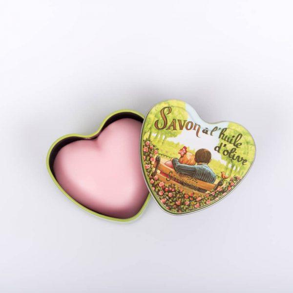 Coeur Rose - Fransk hjärtformad tvål i plåtask 100g