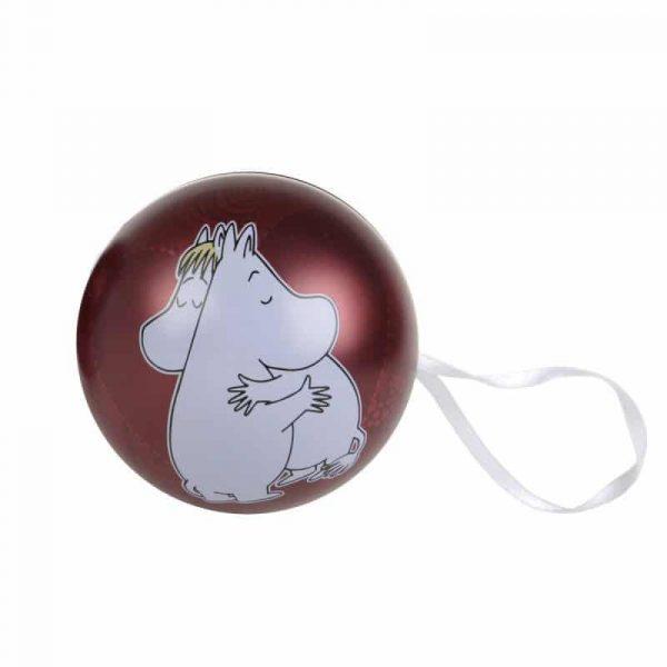 Öppningsbar julkula Mumin Ø 7 cm, Mumintrollet och Snorkfröken kramas
