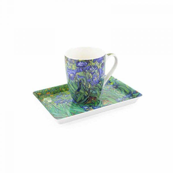 Fikaset bricka och mugg, Van Gogh Irisar